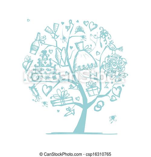 Hochzeitsbaumkonzept für Ihr Design - csp16310765
