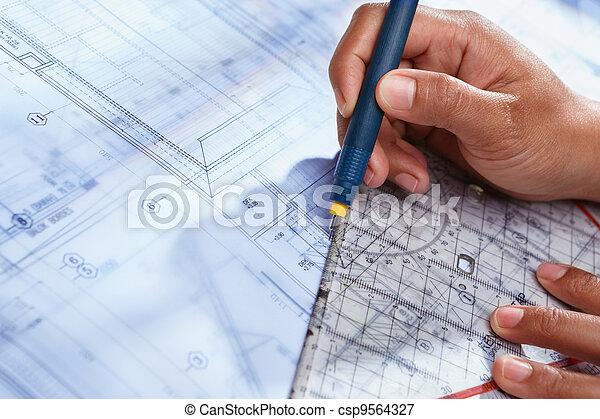 Deisgn, Haus, Architekt, Arbeitende   Csp9564327
