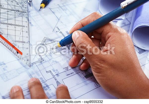 Deisgn, Haus, Architekt, Arbeitende   Csp9555332