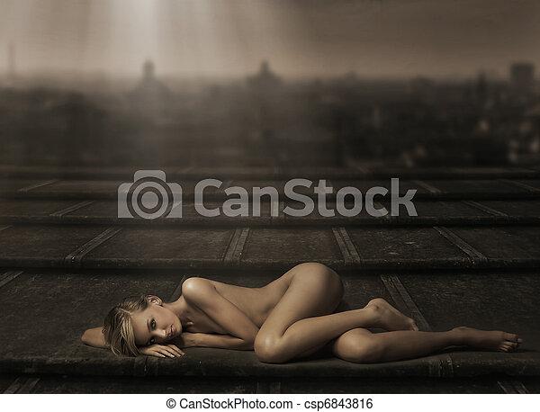 deitando, mulher, bonito, pelado - csp6843816