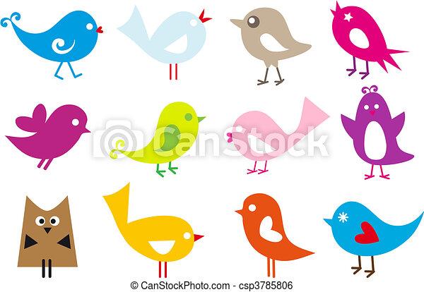 dejlige, fugle - csp3785806