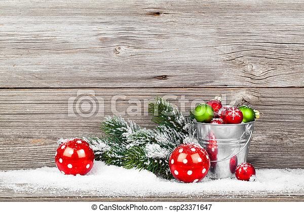 dekoráció, fából való, felett, karácsony, háttér - csp23371647