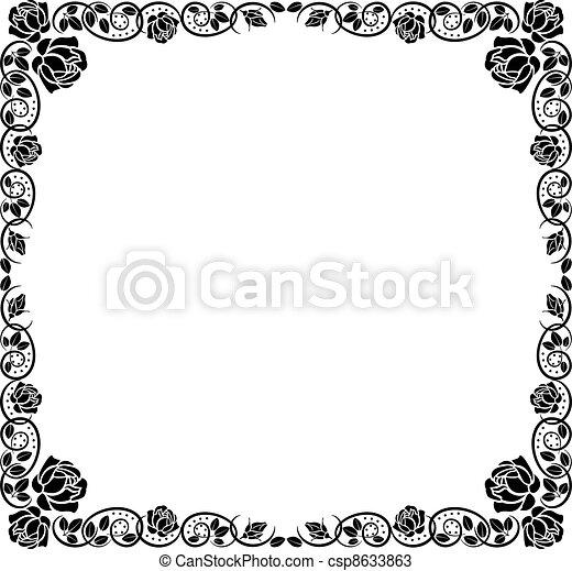 dekoráció, határ, rózsa - csp8633863