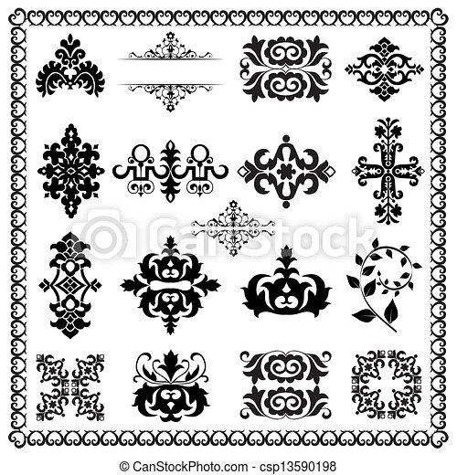 dekoracyjne elementy, projektować, (black) - csp13590198
