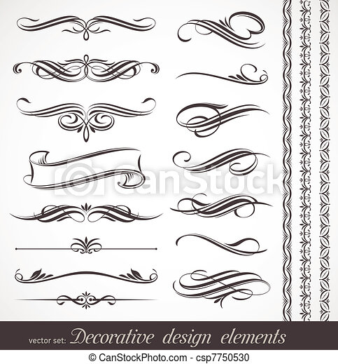 dekoracyjny, dekoracje, elementy, &, wektor, projektować, strona - csp7750530