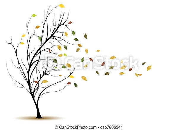 dekoracyjny, drzewo, wektor, sylwetka - csp7606341