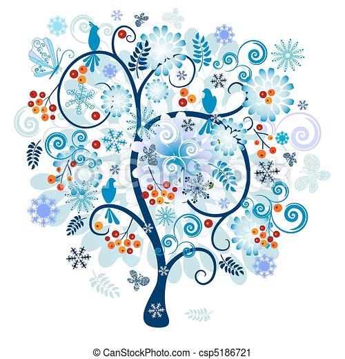 dekoracyjny, drzewo zima - csp5186721