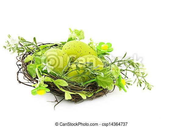 dekoracyjny, gniazdo, pisanki - csp14364737