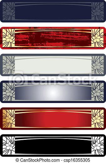 dekoracyjny, horisontal, illustration., banner., rocznik wina, wektor, ozdobny - csp16355305