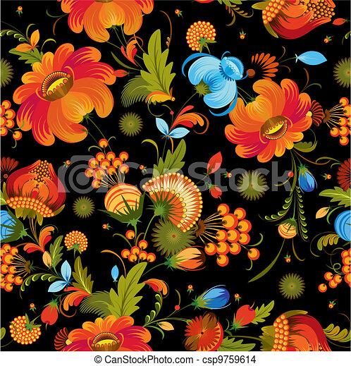 dekoracyjny, kwiat, seamless, tło - csp9759614