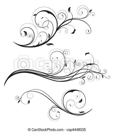 dekoracyjny, kwiatowe elementy - csp4448035