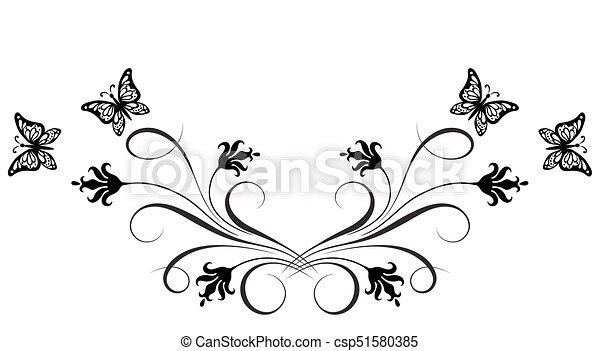 dekoracyjny, motyl, ozdoba, kwiatowy, róg, kwiaty - csp51580385