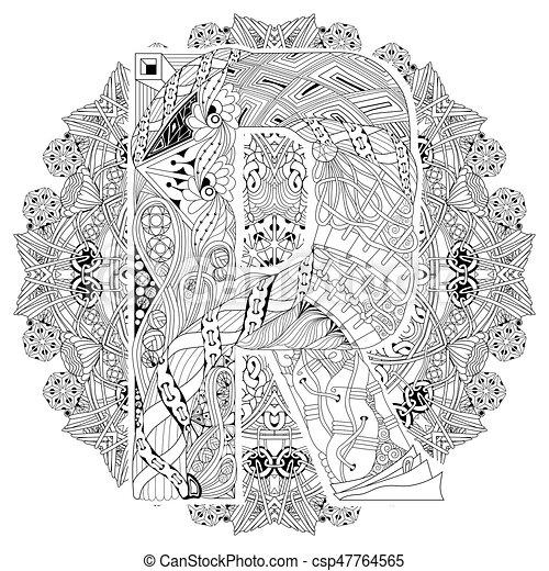 Dekoracyjny Wektor Coloring R Litera Zentangle Mandala Page