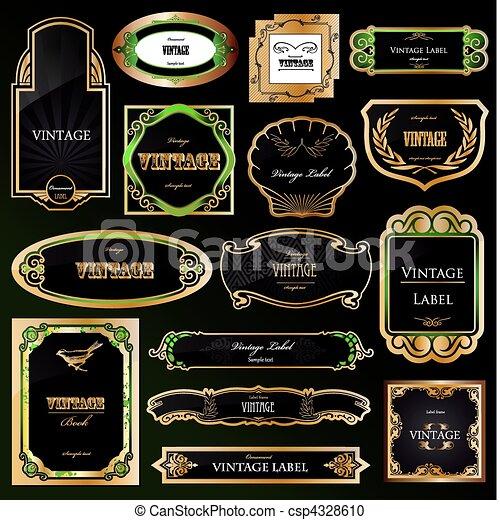dekoratív, arany-, állhatatos, labels., vektor, fekete, keret - csp4328610