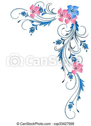 dekoratív, díszítés, virágos - csp33427568