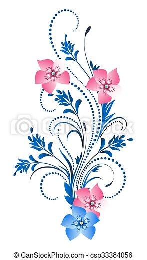dekoratív, díszítés, virágos - csp33384056