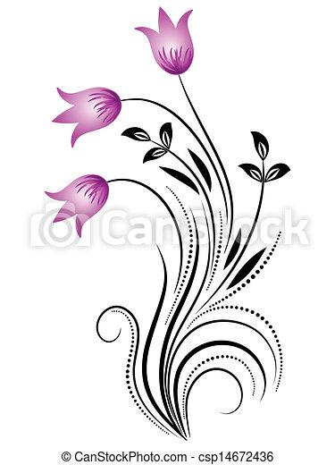 dekoratív, díszítés, virágos - csp14672436