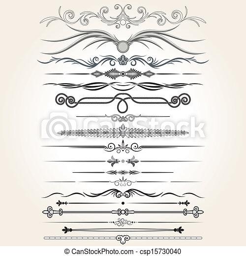 dekoratív elem, vektor, kormányoz, lines., tervezés - csp15730040