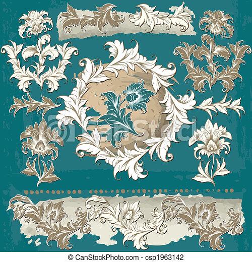 dekoratív, floral elem - csp1963142
