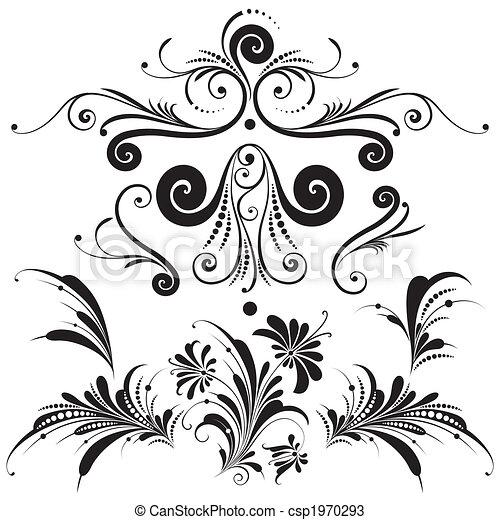 dekoratív, floral elem, tervezés - csp1970293
