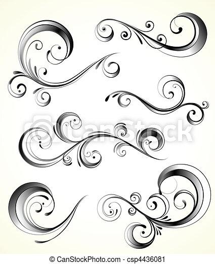 dekoratív, floral elem - csp4436081