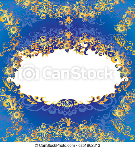 dekoratív, kék, keret, virágos - csp1962813
