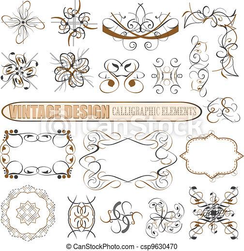 dekoratív, lakberendezési tárgyak, elements:, vektor, tervezés, oldal - csp9630470