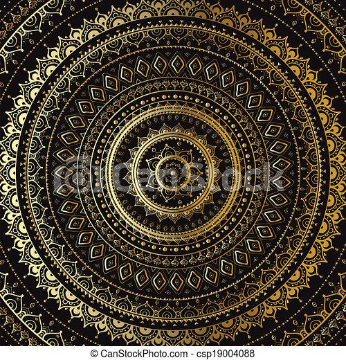 dekoratív, mandala., indiai, pattern., arany - csp19004088