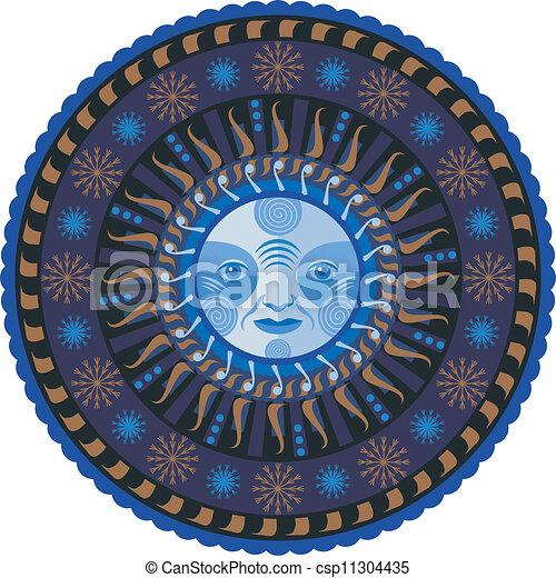 dekoratív, mandala, tél - csp11304435