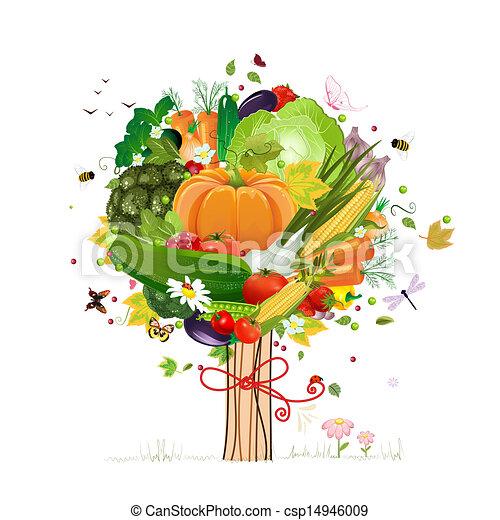 dekoratív, növényi, fa - csp14946009