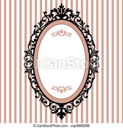 dekoratív, ovális keret, szüret - csp4866286