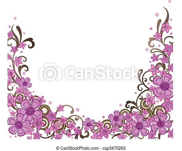 dekoratív, rózsaszínű, határ, virágos - csp3470263