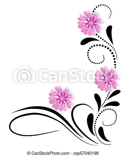 dekoratív, rózsaszínű virág, díszítés, sarok - csp57040198