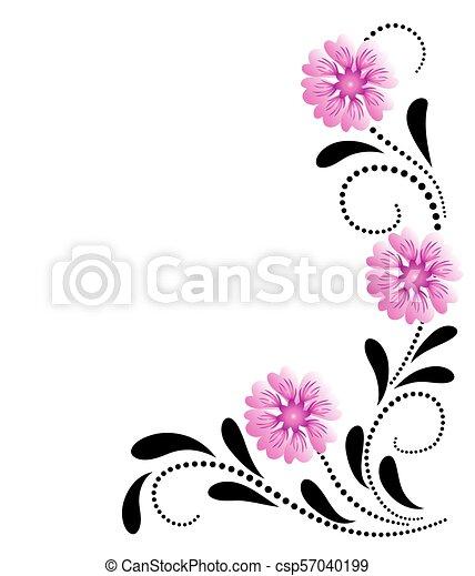 dekoratív, rózsaszínű virág, díszítés, sarok - csp57040199