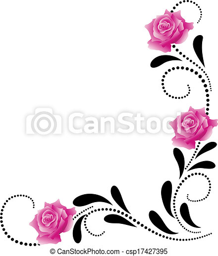 dekoratív, sarok, díszítés, virágos - csp17427395