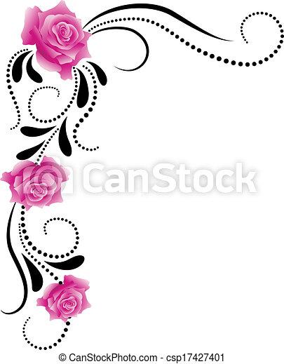 dekoratív, sarok, díszítés, virágos - csp17427401