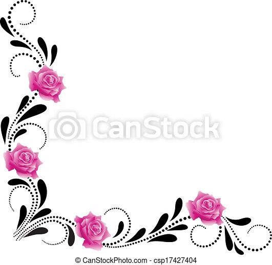 dekoratív, sarok, díszítés, virágos - csp17427404