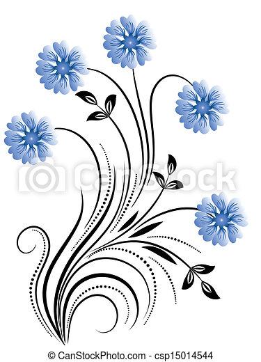 dekoratív, virágos, díszítés - csp15014544