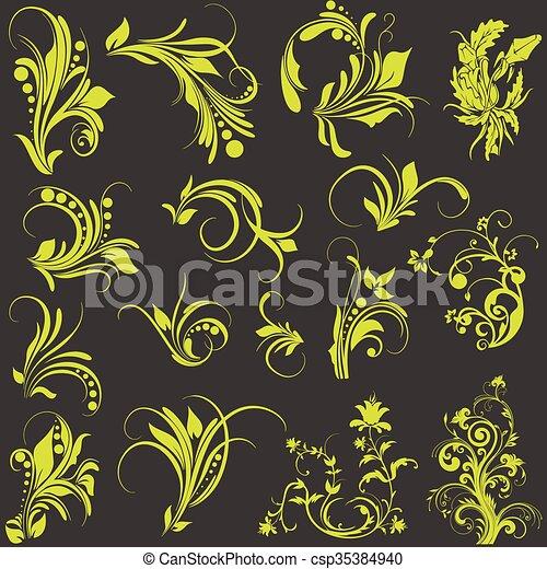 dekoratív, virágos, díszítés - csp35384940