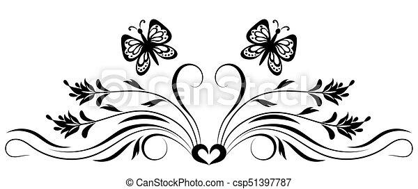 dekoratív, virágos, díszítés - csp51397787
