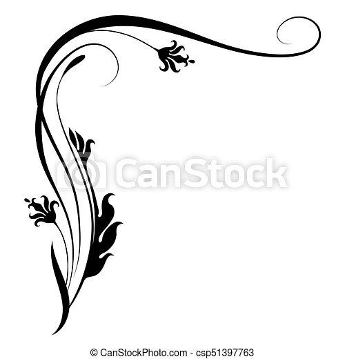 dekoratív, virágos, díszítés, sarok - csp51397763