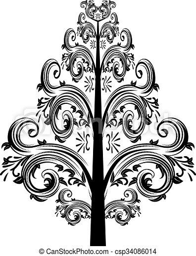 dekoratív, virágos, díszítés - csp34086014