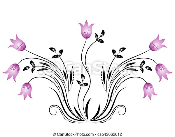 dekoratív, virágos, díszítés - csp43662612