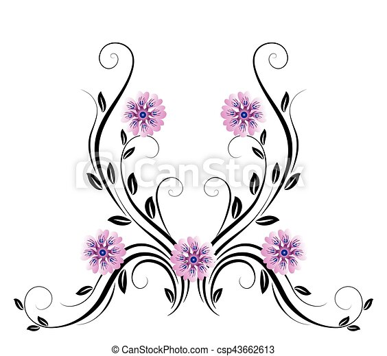 dekoratív, virágos, díszítés - csp43662613