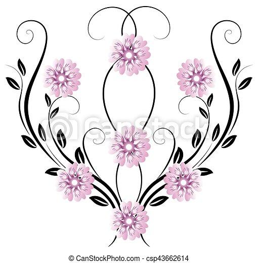 dekoratív, virágos, díszítés - csp43662614