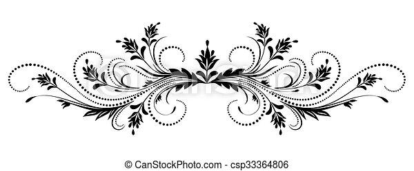 dekoratív, virágos, díszítés - csp33364806