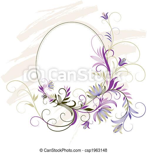 dekoratív, virágos, keret, díszítés - csp1963148