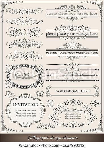 dekoration, elemente, design, seite, calligraphic - csp7990212
