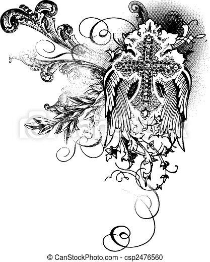 Fliegendes Kreuz mit Schriftrolle - csp2476560