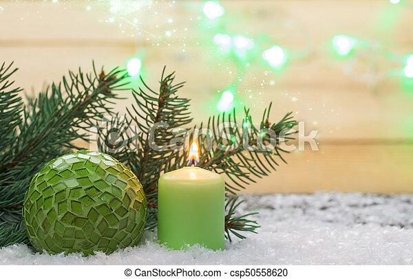 dekoration, kerze, gruß, weihnachtskarte - csp50558620